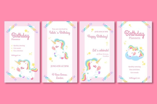 Kolekcja opowiadań urodzinowych dla dzieci jednorożca na instagramie