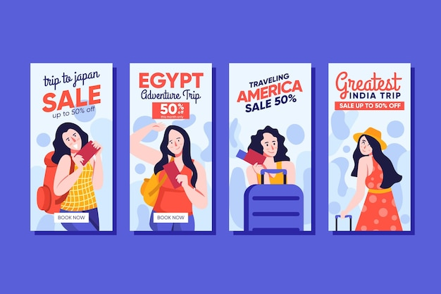 Kolekcja opowiadań w mediach społecznościowych o sprzedaży w podróży