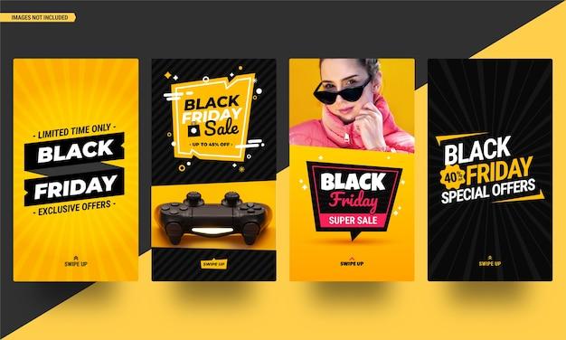 Kolekcja opowiadań z mediów społecznościowych z czarnego piątku. edytowalne szablony w płaskiej konstrukcji gotowe do użycia