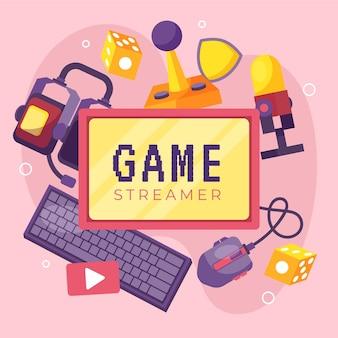 Kolekcja organicznych elementów płaskiej gry streamer