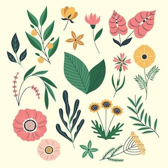 Kolekcja organicznych kwiatów płaska