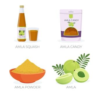 Kolekcja organicznych płaskich elementów owoców amla