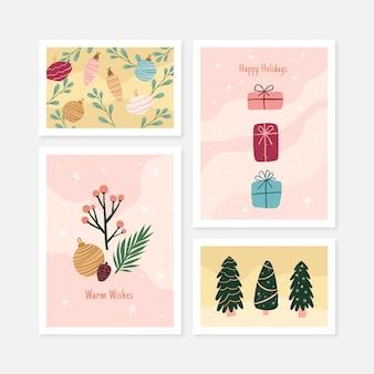 Kolekcja organicznych ręcznie rysowane kartki świąteczne