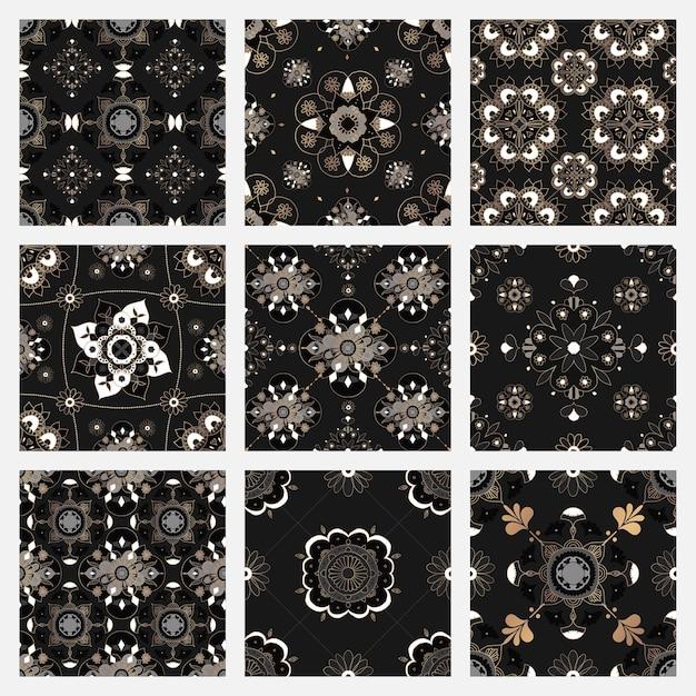 Kolekcja orientalnych czarnych płytek mandali w tle