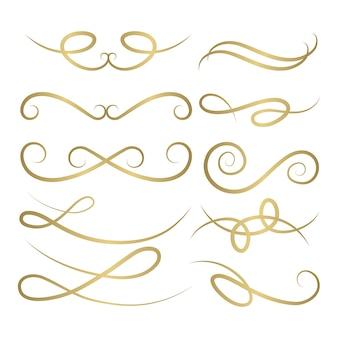 Kolekcja ornament kaligraficzny ślub