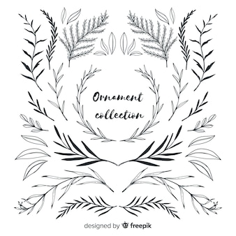 Kolekcja ornament liści ręcznie rysowane stylu