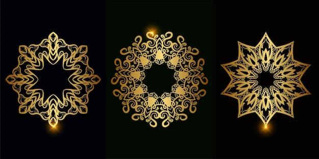Kolekcja ornament mandali lub kwiat