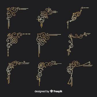 Kolekcja ornament złotej granicy