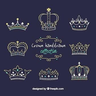 Kolekcja ośmiu koron w ręcznie rysowanym stylu