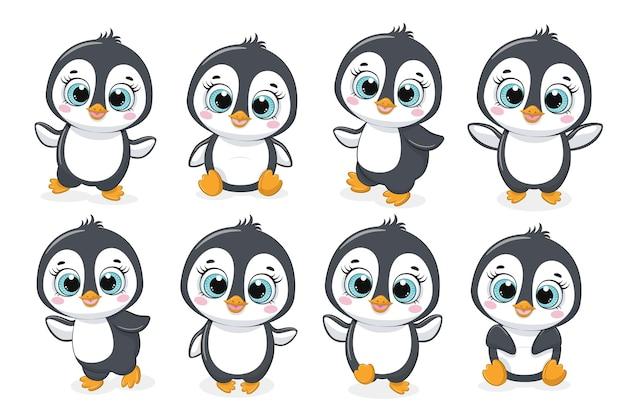 Kolekcja ośmiu uroczych pingwinów. ilustracja wektorowa kreskówki.