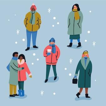 Kolekcja osób noszących ubrania zimowe