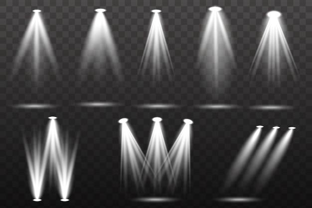 Kolekcja oświetlenia scen, efekty przezroczyste. jasne oświetlenie z reflektorami.