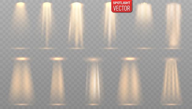 Kolekcja oświetlenia scen, efekty przezroczyste. reflektory.
