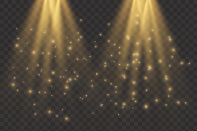 Kolekcja oświetlenia scenicznego, efekty przezroczyste. reflektory wektorowe. scena.