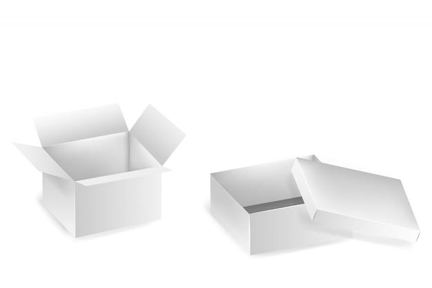 Kolekcja otwartych skrzynek. zestaw długich białych kartonów na białym tle. zestaw pustych pudełek z produktami. realistyczne pudełko kartonowe, pojemnik, opakowanie.
