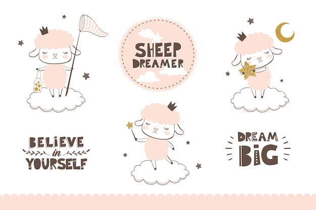 Kolekcja owiec kreskówek