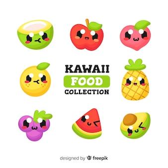 Kolekcja owoców kawaii