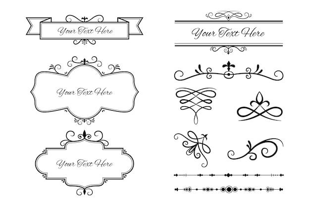 Kolekcja ozdobnych elementów kaligraficznych