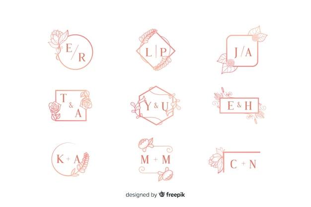 Kolekcja ozdobnych monogram różowy ślub