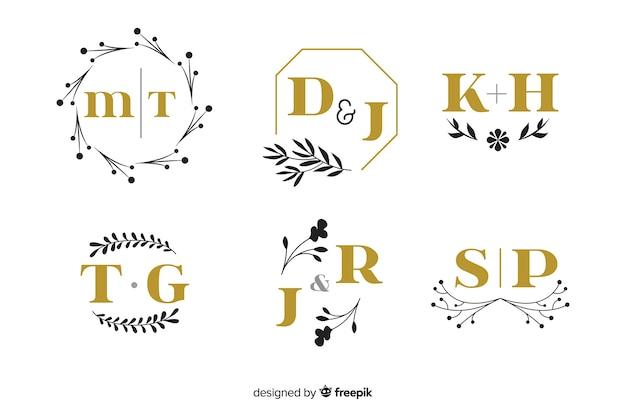 Kolekcja ozdobnych monogram ślubny