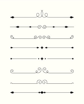 Kolekcja ozdobnych przegródek kaligraficznych