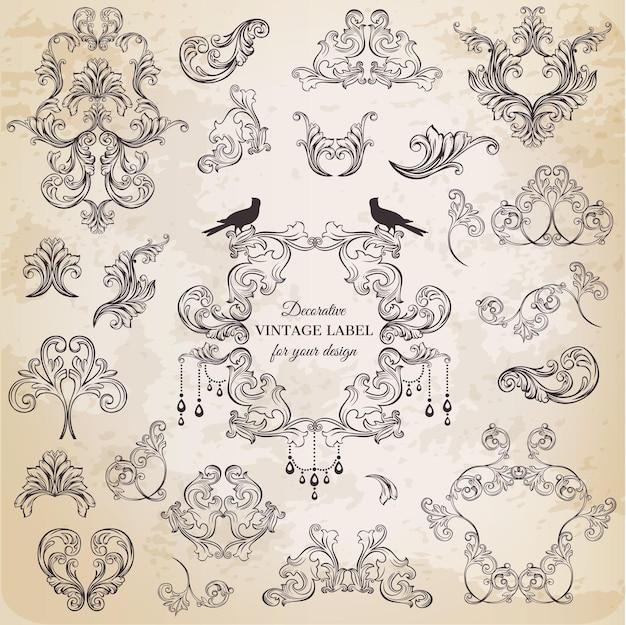 Kolekcja ozdobnych ramek w stylu vintage z kwiatami