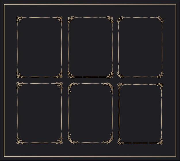 Kolekcja ozdobnych ramek w stylu vintage