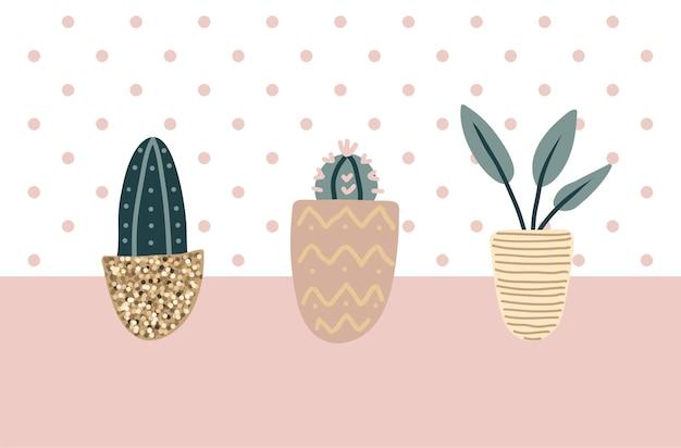 Kolekcja ozdobnych roślin doniczkowych. pakiet modnych roślin rosnących w doniczkach. zestaw pięknych naturalnych dekoracji do domu. ilustracja wektorowa płaski kolorowy.