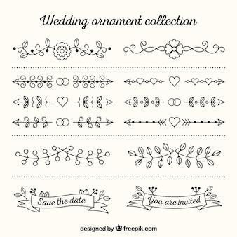 Kolekcja ozdoby ślubne w stylu płaski