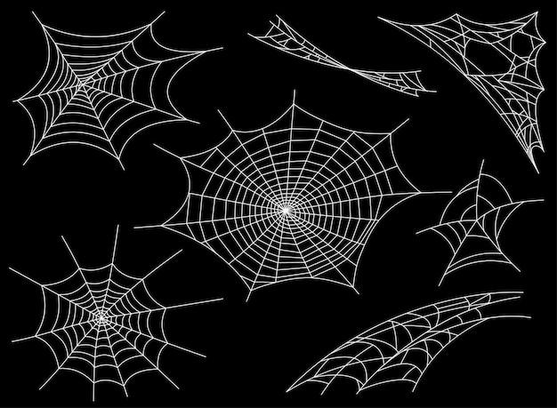 Kolekcja pajęczyna, na białym tle. spiderweb na halloween projekt przerażającego, przerażającego horroru w stylu halloween