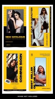 Kolekcja pakietów szablonów historii na instagramie w żółtych modowych mediach społecznościowych
