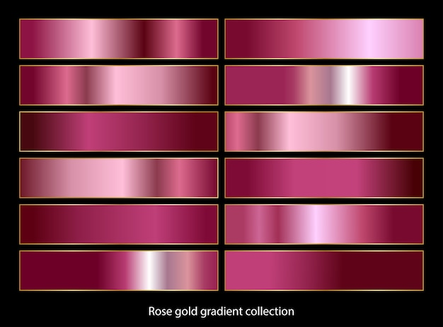 Kolekcja palet gradientowych w kolorze różowego złota.