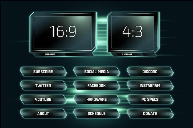 Kolekcja paneli neonowych twitch stream