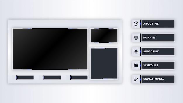 Kolekcja paneli twitch dla szablonu transmisji na żywo