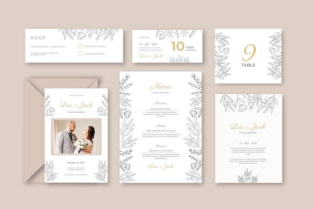 Kolekcja papeterii na rocznicę ślubu