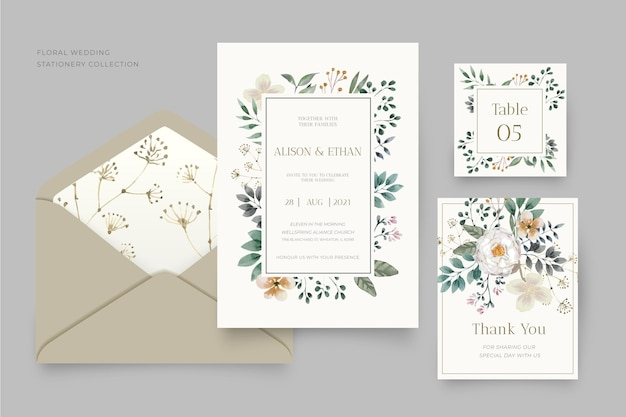Kolekcja papeterii ślubnej kwiatowy