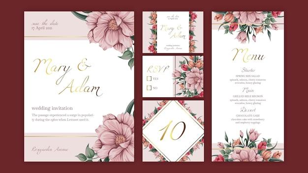 Kolekcja papeterii szablon kwiatowy ślub