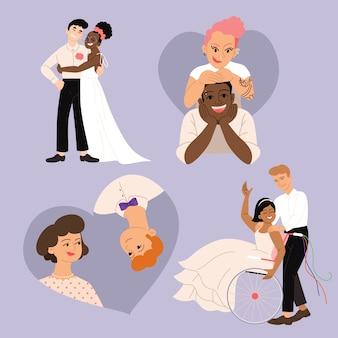 Kolekcja par ślubnych płaska konstrukcja