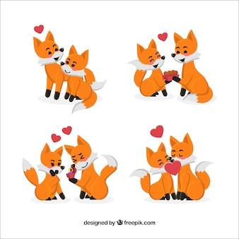 Kolekcja Para Fox Dla Valentine Darmowych Wektorów
