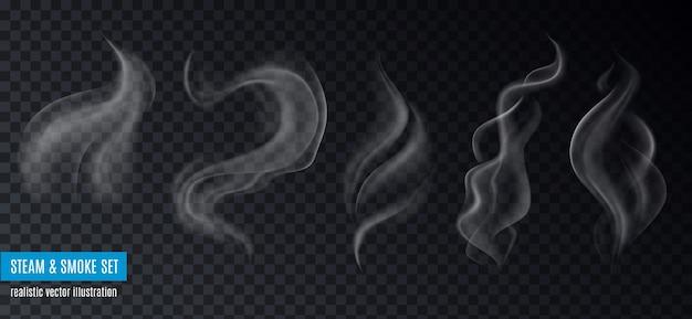 Kolekcja pary i dymu realistycznych obrazów na przezroczystym tle z tekstem i pięcioma różnymi kształtami