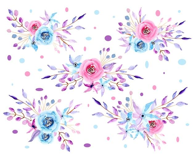 Kolekcja pastelowych akwareli kompozycji kwiatowych