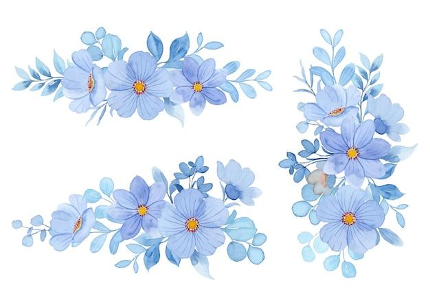 Kolekcja pastelowych niebieskich kompozycji kwiatowych z akwarelą