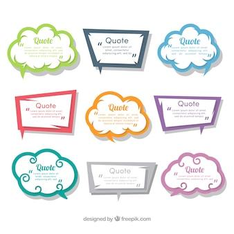 Kolekcja pęcherzyków mowy dla cytatów