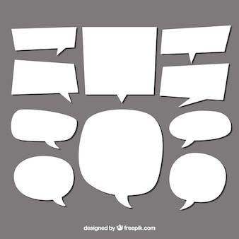 Kolekcja pęcherzyków mowy o innym kształcie