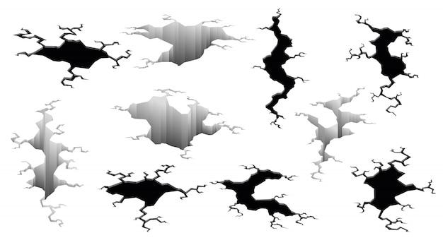 Kolekcja pęknięć trzęsień ziemi. efekt otworu i popękana powierzchnia. dziury w ziemi z pękaniem i zniszczeniem ziemi pękają na białym tle kreskówka. ilustracja