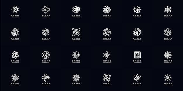 Kolekcja pełnego zestawu abstrakcyjnego ornamentu lub szablonu logo kwiatu
