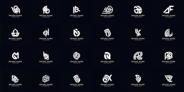 Kolekcja pełny zestaw abstrakcyjnych łączy litery a - z monogram logo design