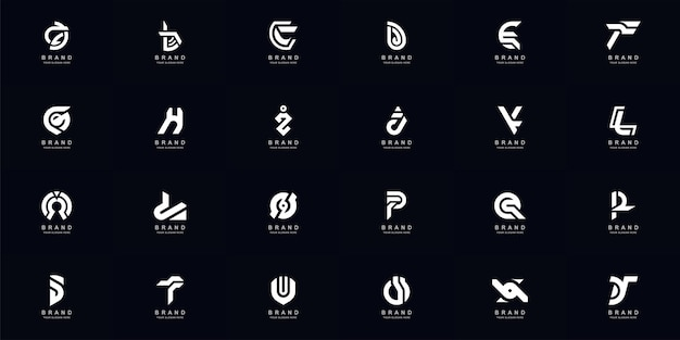 Kolekcja pełny zestaw abstrakcyjnych listów a-z monogram logo szablon projektu