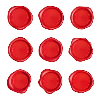 Kolekcja pieczęci woskowych. pieczęć woskowa pieczęć czerwony zestaw na białym tle. realistyczne gwarantowane czerwone znaczki.