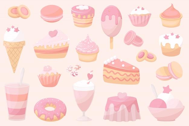 Kolekcja pieczonych, towarów doodle ikona